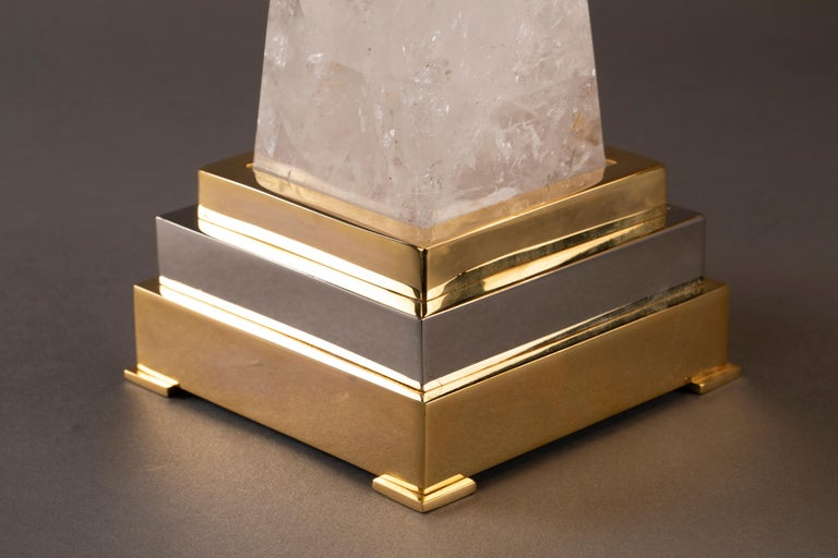 Brass Aiko Collection Hand Mirror and Pair of Rock Crystal Lamps by Alexandre Vossion For Sale