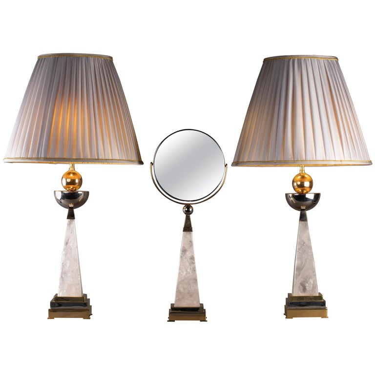 Aiko Collection Hand Mirror and Pair of Rock Crystal Lamps by Alexandre Vossion For Sale