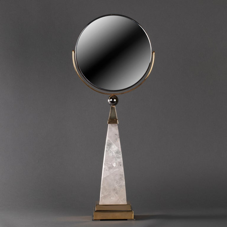 Hand mirror made in rock crystal and brass in two functions chrome and 24-karat gold plated. Could be done in other function by request. Two faced mirror, one X10. Hand made in France. Design by Alexandre VOSSION.