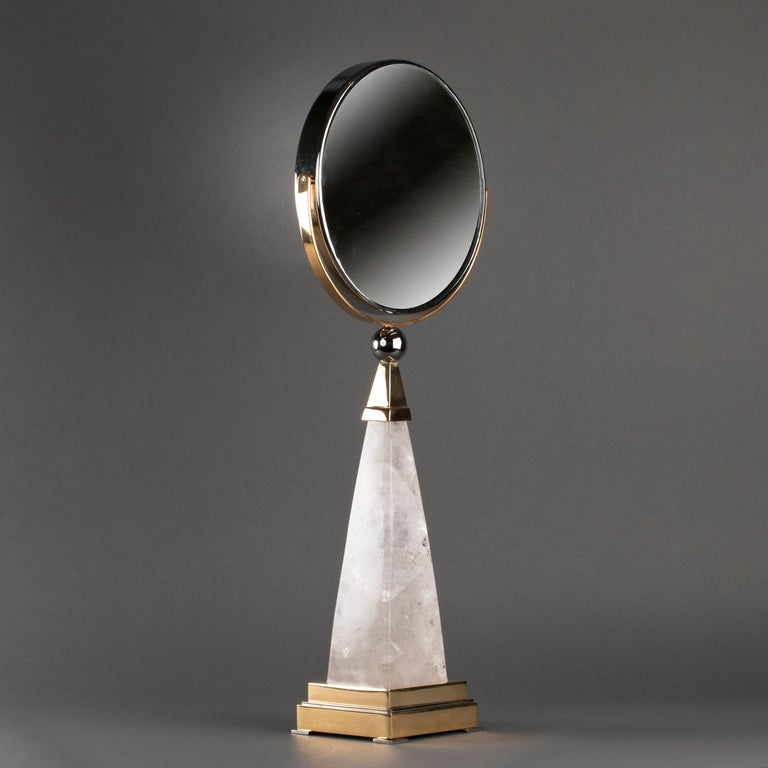 Brass Aiko Model Hand Mirror in Rock Crystal by Alexandre Vossion For Sale
