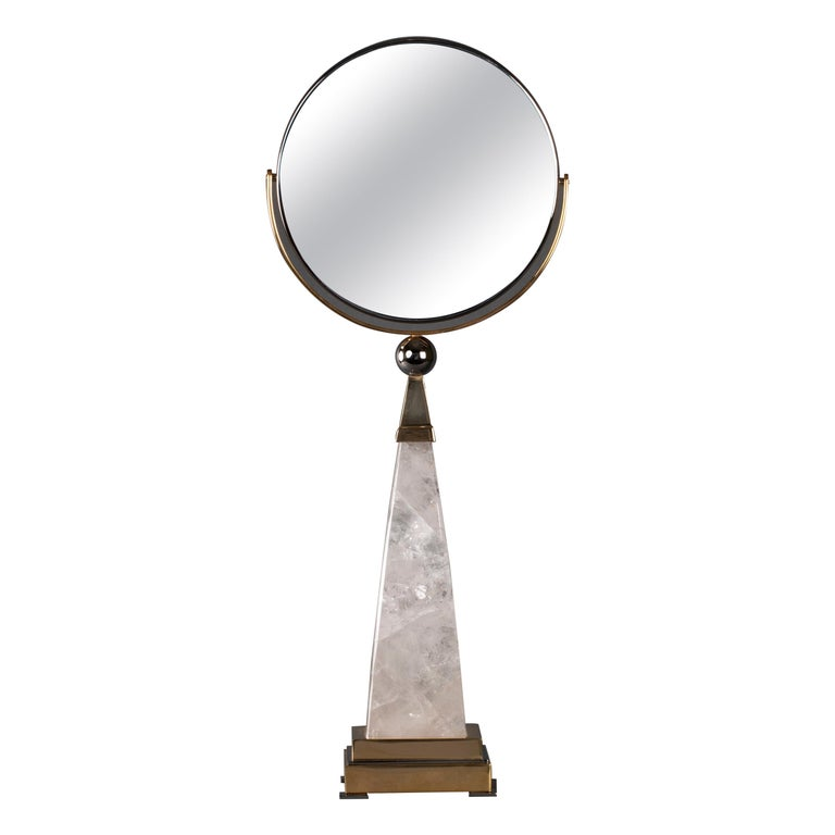 Aiko Model Hand Mirror in Rock Crystal by Alexandre Vossion For Sale