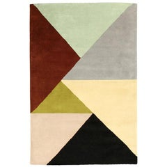 "Ailanto for Dac Rugs Geometric Multicolored Wool ""Marianne"" India Handmade Rug"