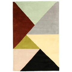 "Ailanto for Dac Rugs Geometric Multicolored Wool ""Marianne"" India Handmade Rug"