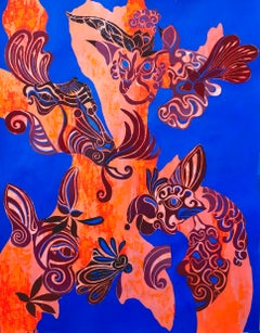 Original collage on paper, animal and greenery, blue orange and grey tone