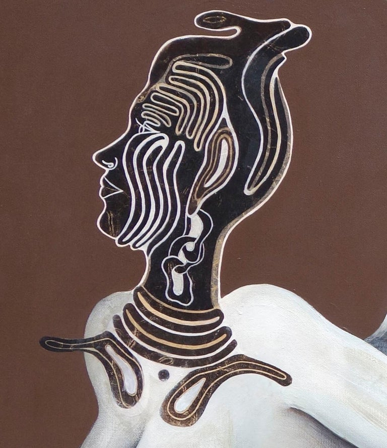 Original painting, nude, woman flying with mask, goddess like - Painting by Aima Saint Hunon