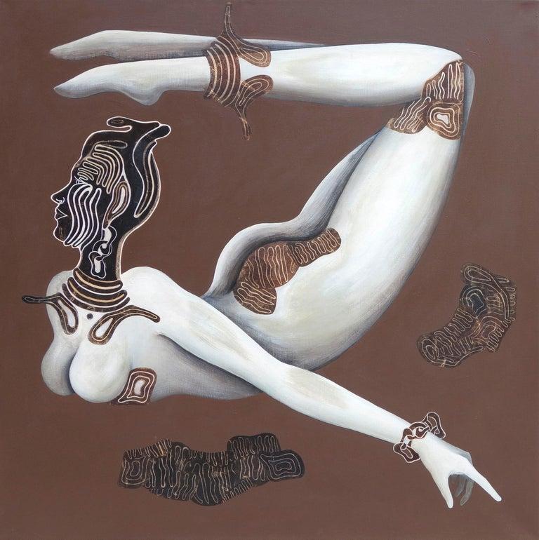 Aima Saint Hunon Nude Painting - Original painting, nude, woman flying with mask, goddess like