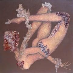 Original painting, nude, woman flying with mask, goddess like