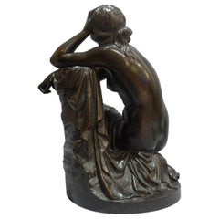 """Aime Millet Bronze Nude of Young Woman """"The Disconsolate Ariadne"""""""