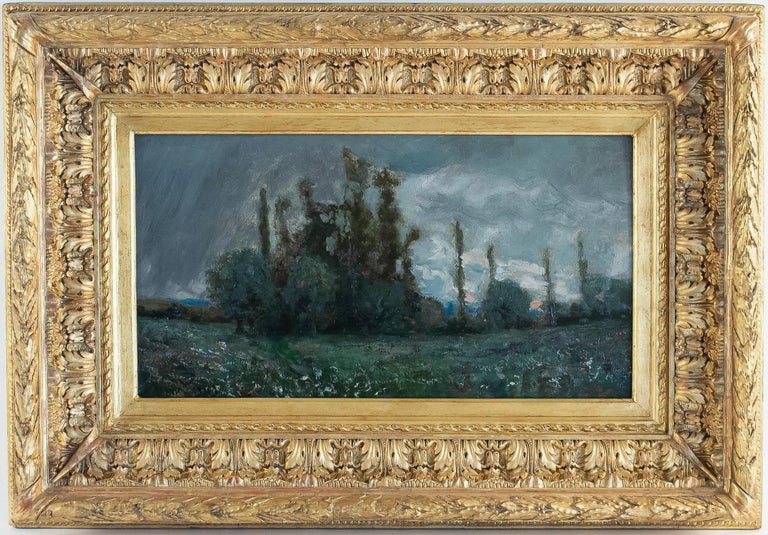 An excellent Lyon school painting signed on lower left by Aimé Perret, depicting an exciting and ornamental autumn sunset, with beautiful use of the blue color. Our painting in a fine original condition served by its original magnificent hand