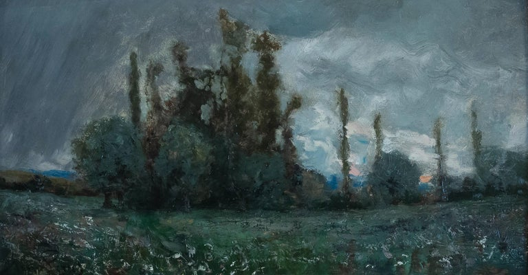 French Aimé Perret Oil on Panel Autumn Sunset, circa 1880-1890 For Sale