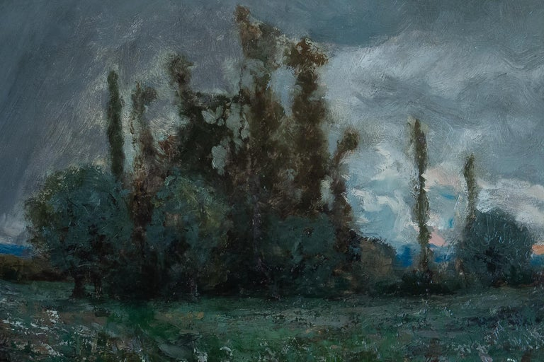 Aimé Perret Oil on Panel Autumn Sunset, circa 1880-1890 In Good Condition For Sale In Saint Ouen, FR