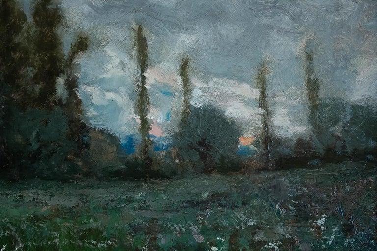Late 19th Century Aimé Perret Oil on Panel Autumn Sunset, circa 1880-1890 For Sale