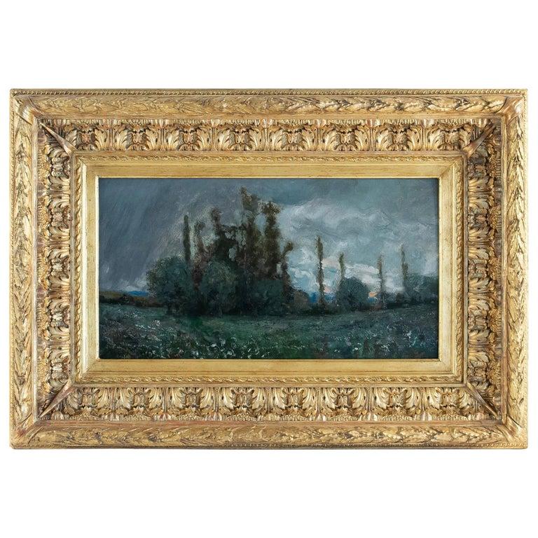 Aimé Perret Oil on Panel Autumn Sunset, circa 1880-1890 For Sale