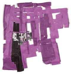 """Above the Watermark"" - Non-Objective Purple Paper Collage - Diebenkorn"