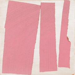 """""""The Space Between Pink"""" - Non-Objective Colorful Paper Collage - Diebenkorn"""