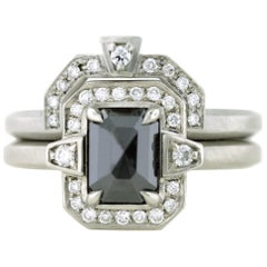 Aimee Kennedy, 1 Carat Rose Cut Black Diamond Halo Ring Set