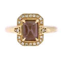 Aimee Kennedy, 1 Carat Rose Cut Brown Diamond Halo Ring