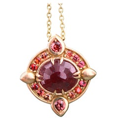 Aimee Kennedy, 5 Carat Rustic Ruby and Sapphire Halo Pendant