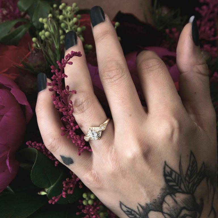 Radiant Cut Aimee Kennedy .53 Carat Canadian Diamond Hexagon Halo Ring For Sale