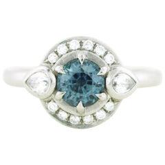 Aimee Kennedy, .77 Carat Montana Sapphire Halo Ring