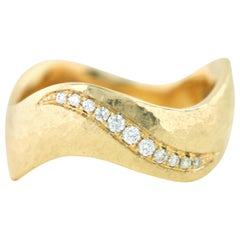 Aimee Kennedy, Diamond Pave 14 Karat Gold Hammered Ring