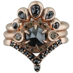 Aimee Kennedy, Rose Cut Black and Champagne Diamond Halo Stack in Rose Gold