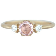 Aimee Kennedy, Rose Cut Padparadscha Sapphire and Diamond Ring with Leaf Detail
