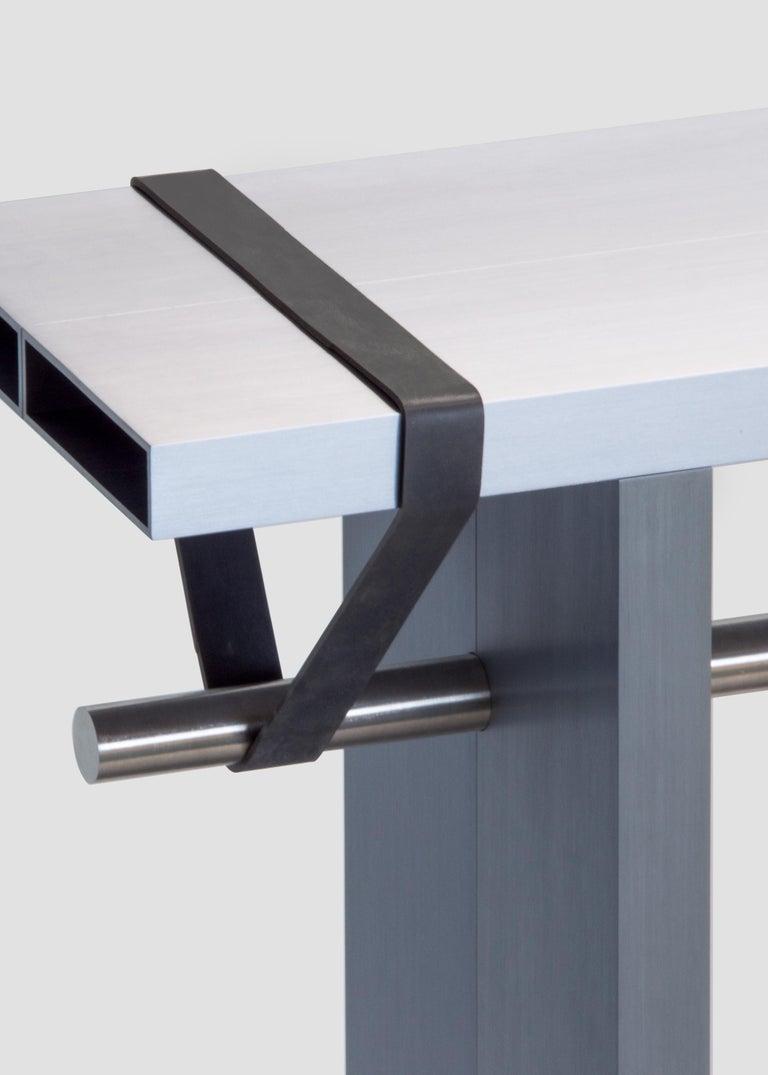 Aluminum Console Signed by Johan Viladrich For Sale