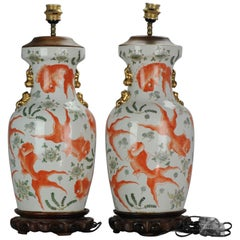 Air Chinese Porcelain Vases Proc Lamp Goldfish Interior Foo Lion Item Informatio