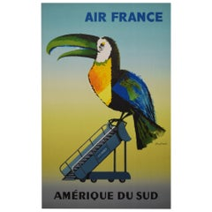 Air France 1956 South America Travel Airlines Poster, Dubois
