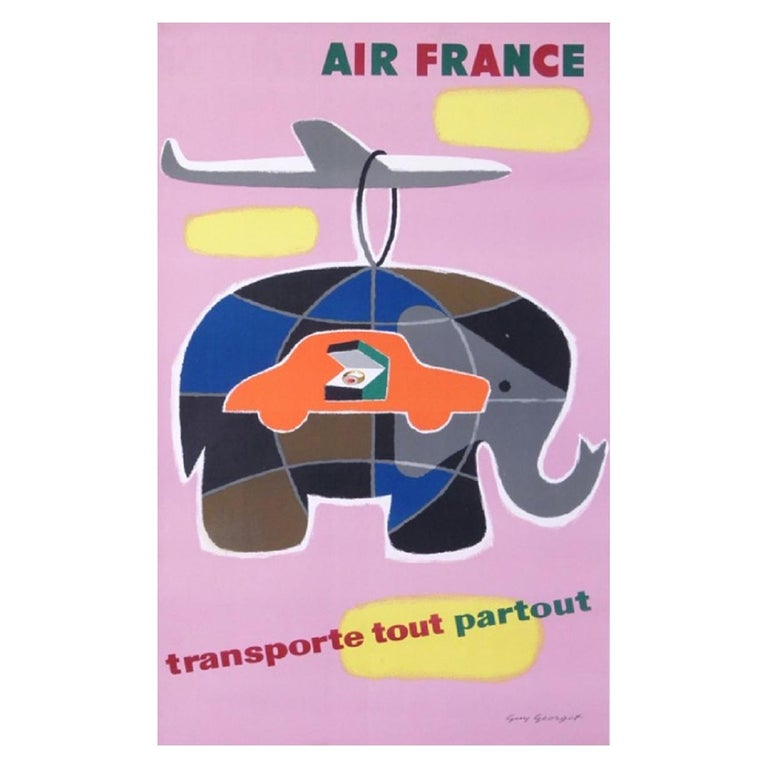 Air France Carries Everything Everywhere Original Vintage Poster For Sale