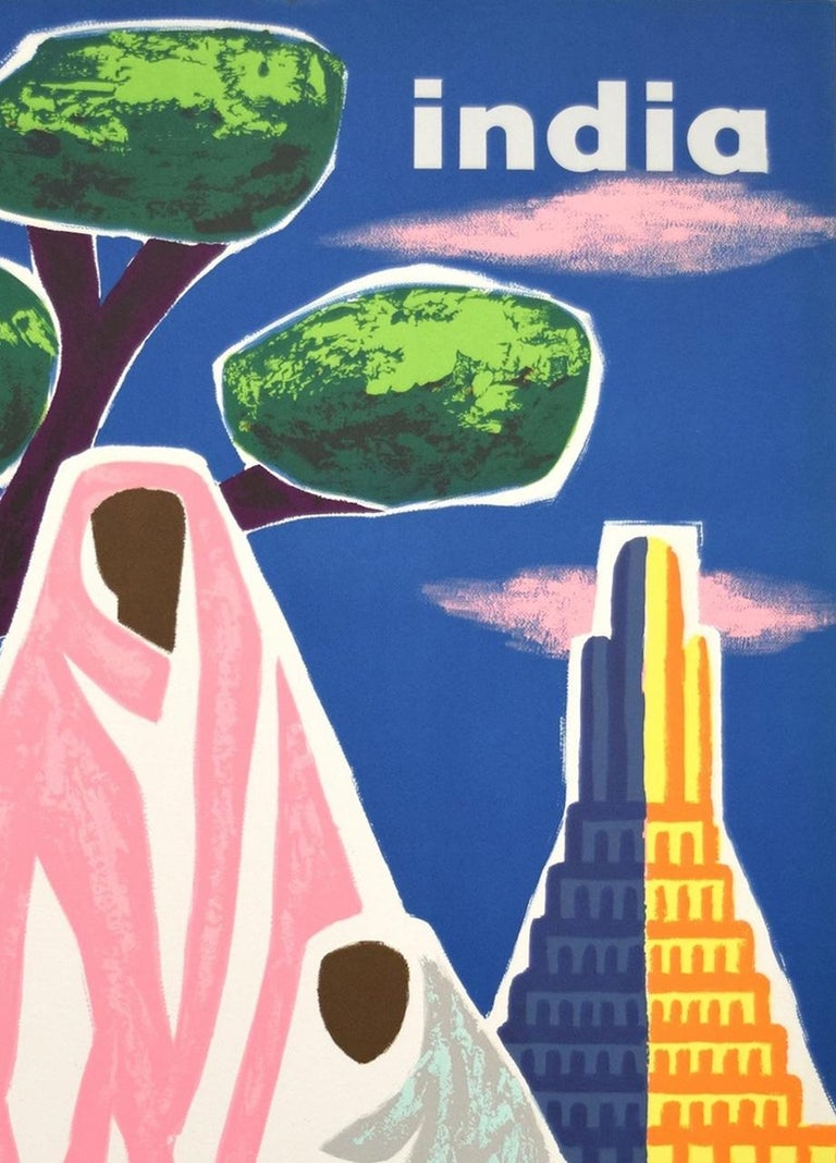 Air France India Original Vintage 1960s Travel Adverting Poster, Georget In Good Condition For Sale In Bath, Somerset