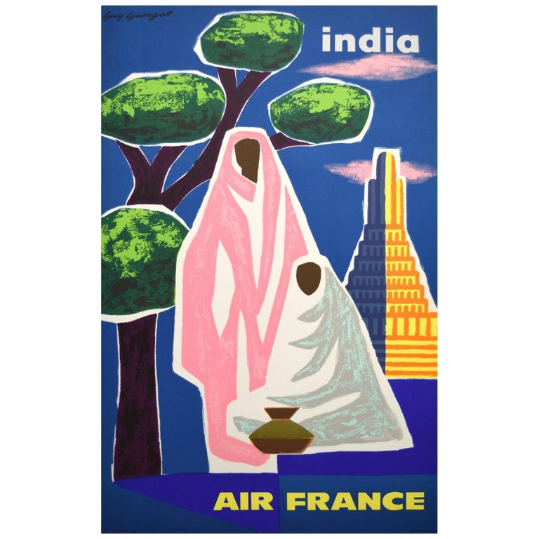 Air France India Original Vintage 1960s Travel Adverting Poster, Georget For Sale