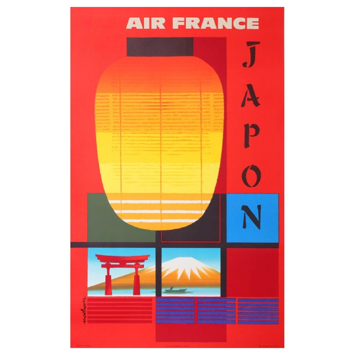 Air France Japan Original Vintage Poster
