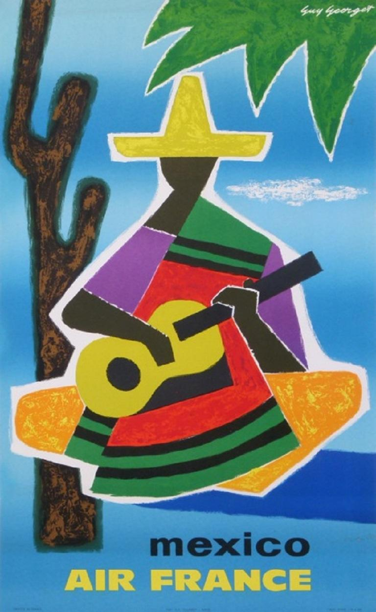 Mexican Air France Mexico Original Vintage Poster For Sale