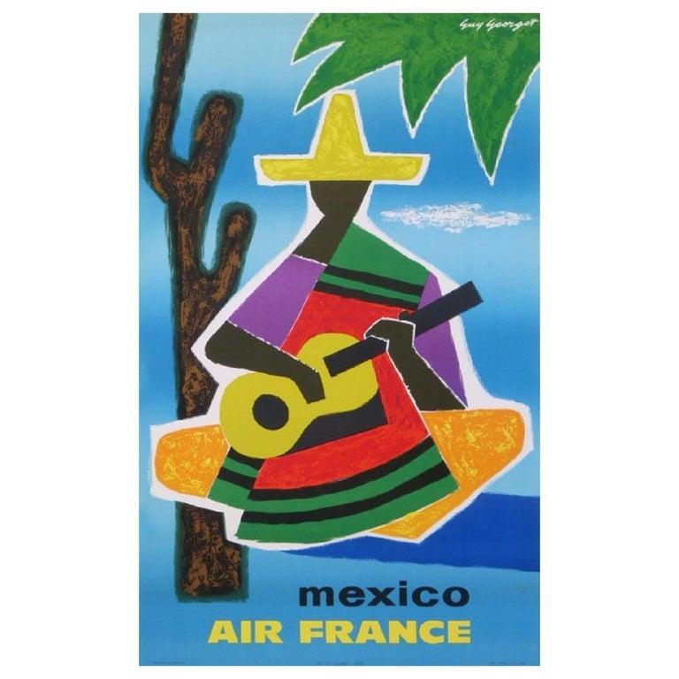 Air France Mexico Original Vintage Poster For Sale