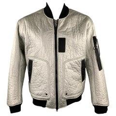 AIR JORDAN Size L Silver Metallic Polyethylene Zip Up Bomber Jacket