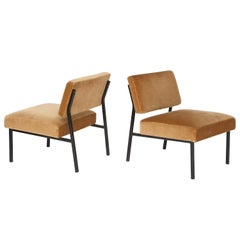 Airborne Iron and Velvet Slipper Chairs Midcentury Brown 1950, France