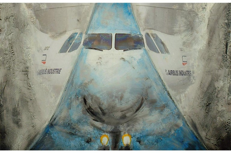 French Airbus, Beluga Mixed Technical Board on Aluminum by Philippe Gajic For Sale