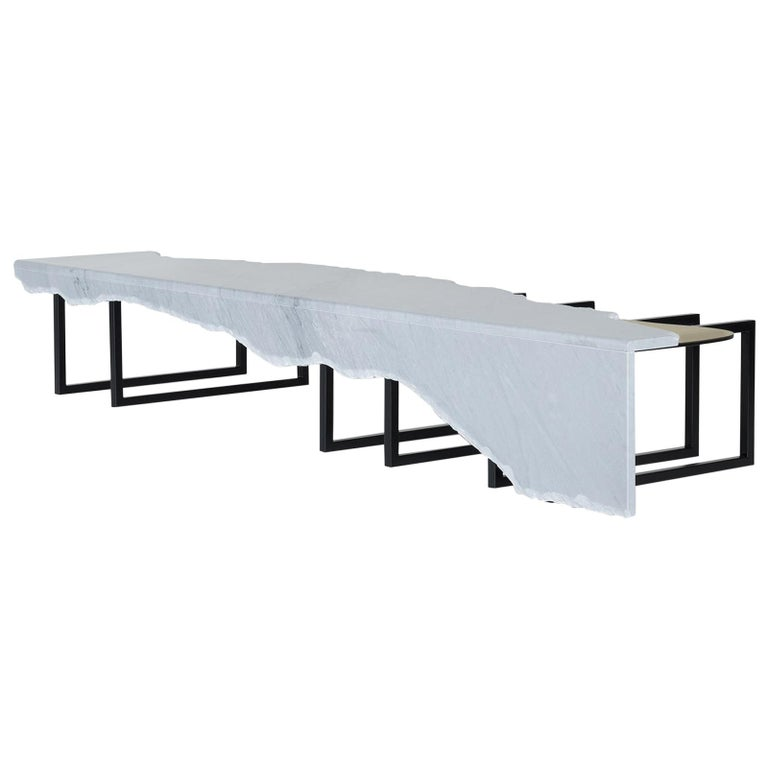 21st Century Aire Coffee Table XL Bardiglio Marble Oxidized Brass For Sale