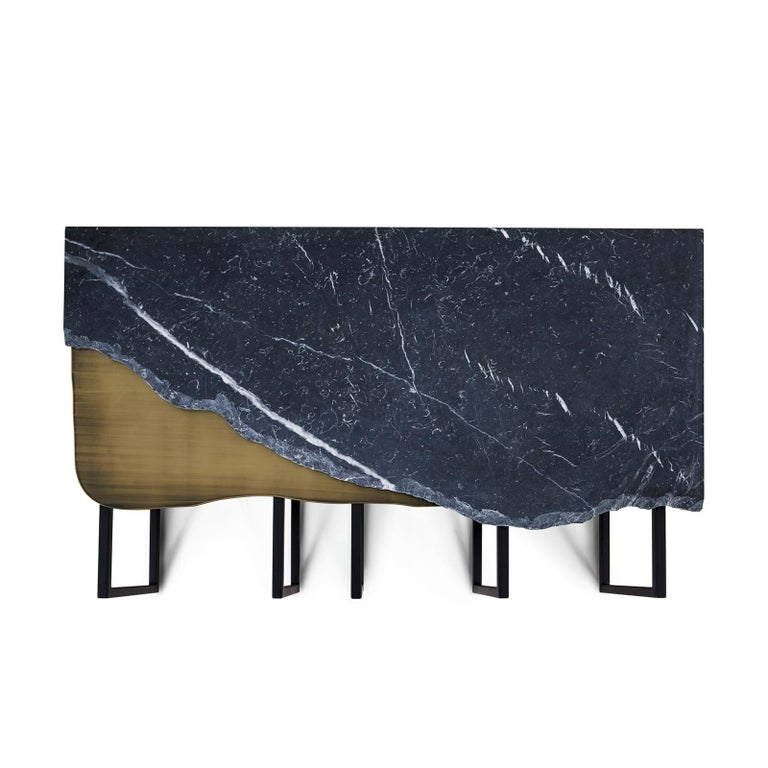 Modern 21st Century Aire Coffee Table M Nero Marquina Marble Dark Oxidised Brass For Sale