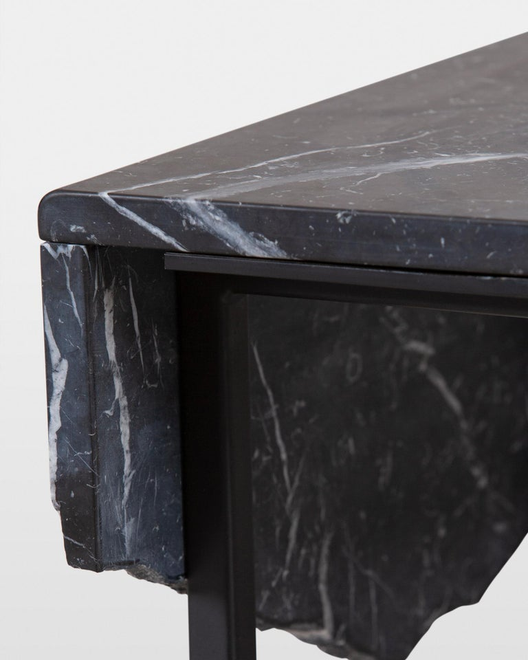 Contemporary 21st Century Aire Coffee Table M Nero Marquina Marble Dark Oxidised Brass For Sale
