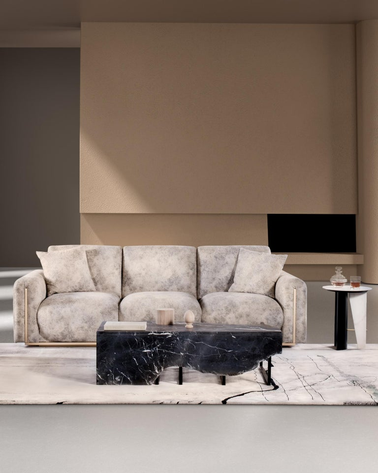 21st Century Aire Coffee Table M Nero Marquina Marble Dark Oxidised Brass For Sale 1