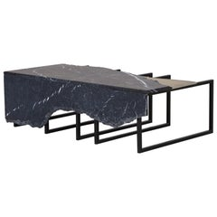 21st Century Aire Coffee Table M Nero Marquina Marble Dark Oxidised Brass