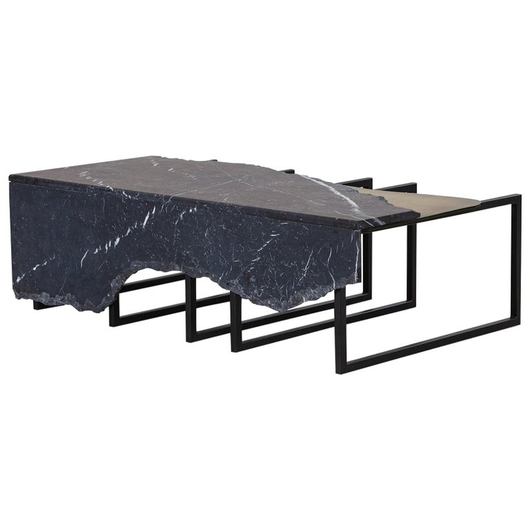 21st Century Aire Coffee Table M Nero Marquina Marble Dark Oxidised Brass For Sale