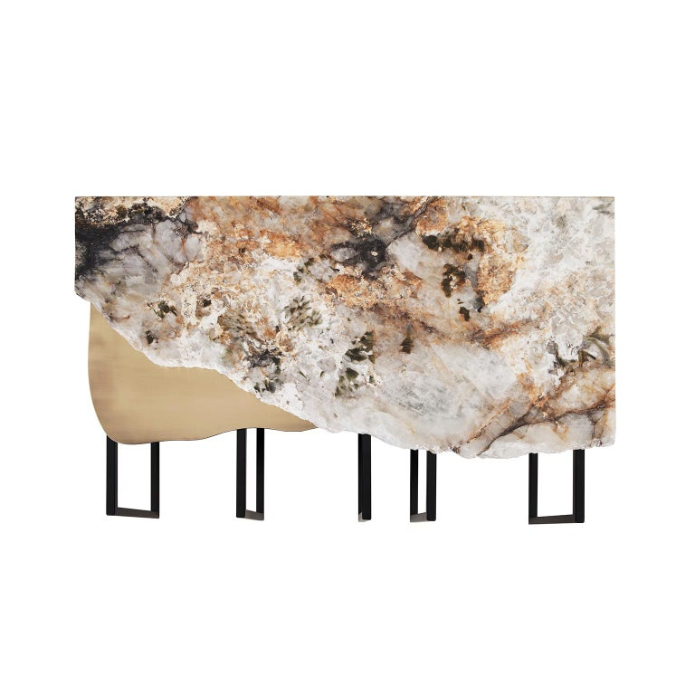 Portuguese Aire Coffee Table M Patagonia Granite Dark Oxidized Brass Black Lacquered For Sale