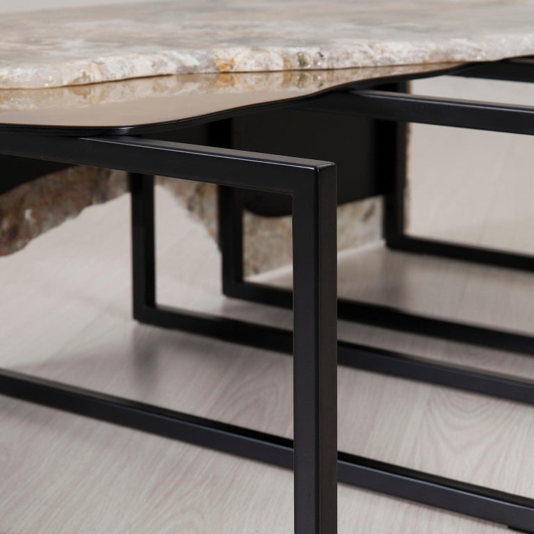 Contemporary Aire Coffee Table M Patagonia Granite Dark Oxidized Brass Black Lacquered For Sale
