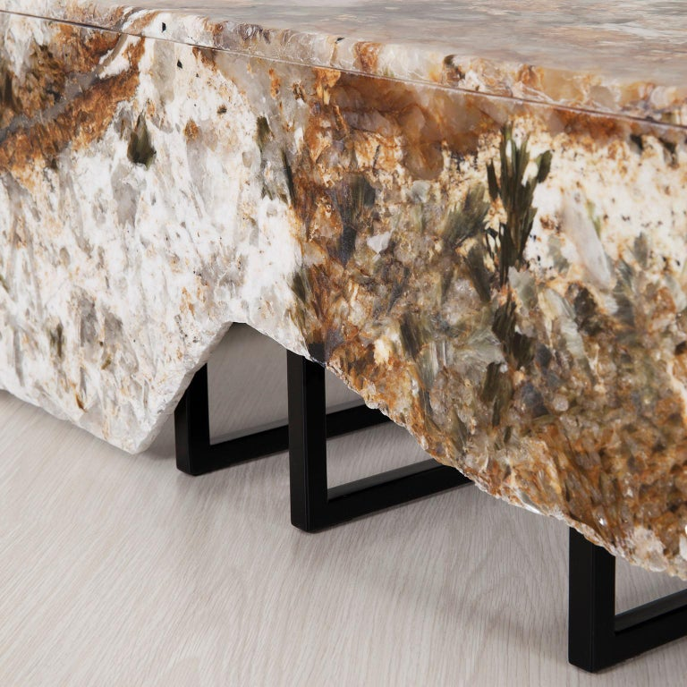 Aire Coffee Table M Patagonia Granite Dark Oxidized Brass Black Lacquered For Sale 1
