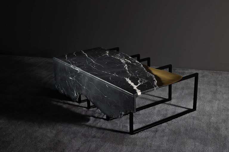 Aire Coffee Table M Patagonia Granite Dark Oxidized Brass Black Lacquered For Sale 3