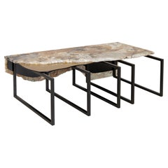Aire Coffee Table M Patagonia Granite Dark Oxidized Brass Black Lacquered